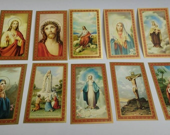 10 vintage Holy Cards Christ Mary