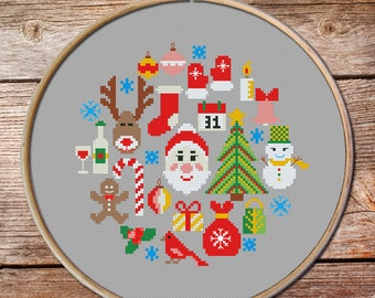 Modern Christmas cross stitch pattern, christmas cross stitch, cross stitch christmas, cross stitch santa, modern christmas tree
