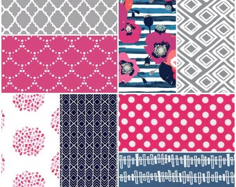 Custom Crib Bedding Set in pink, gray and navy, it has modern fabrics that have a boho feel