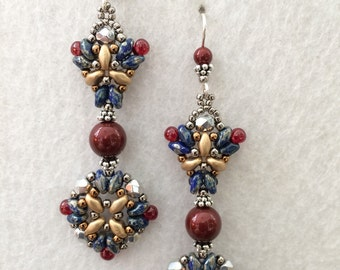 Ruby Swarovski Pearl Silver Czech Crystal Mucha Goddess Inspired Earrings