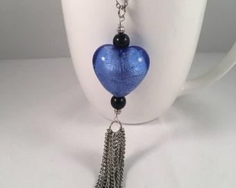 Heart pendant necklace, hear necklace, blue heart necklace, black heart necklace, blue heart pendant, black heart pendant