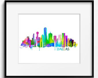 Dallas Texas Skyline  Watercolor Art Print (016) Cityscape