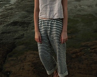 Striped Linen Pants -Elastic Waist Pants -Linen Trousers -Cuffed Pants -Charcoal and Cream Stripe - Summer Pants - Modern Pants - Minimalist
