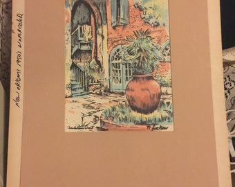 Brulatour Court New Orleans Louisiana Original Watercolor Art/Handpainted circa 1920s estimation; Vintage New Orleans Original Art