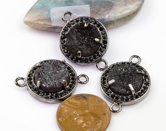 18mm Coin Shapped Gray Metalic Druzy Gunmetal Bezzeled With CZ- Connector