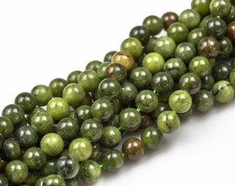 Olivine Jade Smooth Smooth Round Beads. A Quality Full Strand