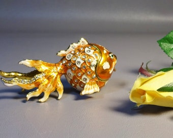 Jeweled Enameled Gold Fish Metal Trinket Box Objet D'Art Mint