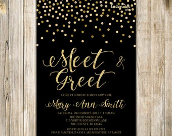 MEET and GREET Invitation, Black Gold Meet the Baby Invite, Sip & See Party, Twin Babies, Adoption Baby Boy Shower, Open House Printables