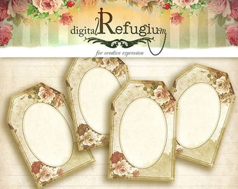 printable Tags Roses, Digital Collage Sheet, INSTANT DOWNLOAD Price Tags vintage