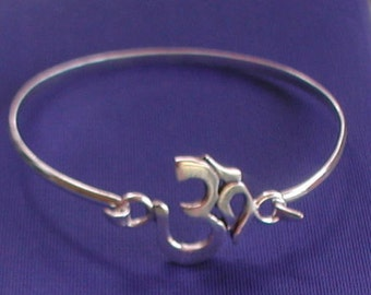 Sterling Silver Om Bangle Yoga Jewellery