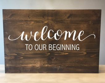 Welcome to our beginning sign, Wood Wedding Welcome Sign, Rustic Wood Wedding Sign, Wood welcome sign, Wooden Welcome sign