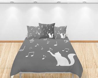 Music note duvet cover Cat decor Personalized Twin Full Queen King Dorm Kid gift musician bedroom theme teacher bedding birthday comforter