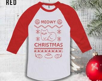 Meowy Christmas Raglan,Merry Christmas Jumper Raglan, Ugly Christmas Sweatshirt,Cat Lovers Gift,Hipster Sweater,Christmas Jumper 2016 CT-877