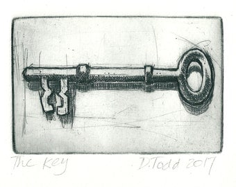 Original Drypoint Hand-pulled Print. 'The Key' (To my heart perhaps...)