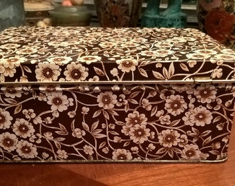 Vintage enameled aluminum jewelry box