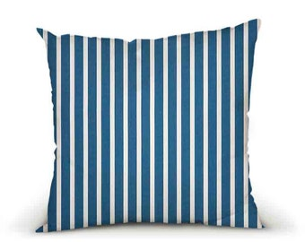 OUTDOOR Pillow cover, decorative cushions in Sunbrella Shore Blue with colored piping (to choose), Sunbrella exterior fabric