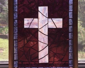 Stained Glass Mosaic Window Hanging/ Sun Catcher/ Mosaic Cross/ Religious/ Purple/ Lavender/ Glass on Glass