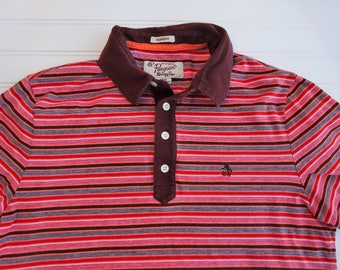Maroon Multi-Colored Striped Penguin Polo Short Sleeve Shirt