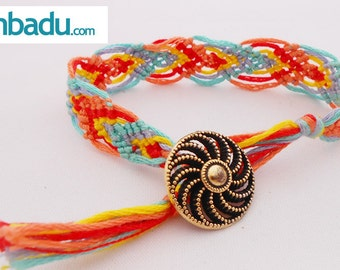 Friendship bracelet different colors and metal button