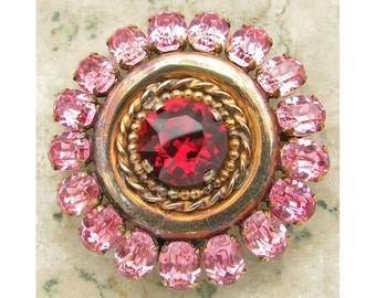 Vintage 1930s Brooch Czech Glass Pin Red & Pink Stones