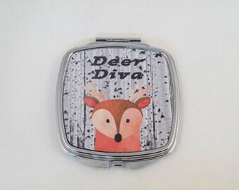Deer Diva, compact mirror with Deer graphic