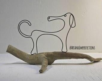 Wire art sculpture, dachshund driftwood sculpture. Pet art. Whimsical wire wiener dog sculpture. Wire art, Wire work. Dachshund art.