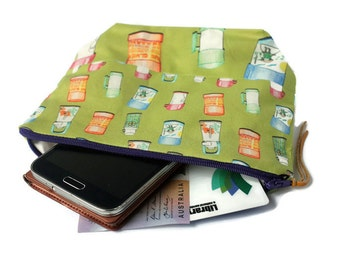 Zip Pouch. Thermos design by Busy Work... me. Green Purse.