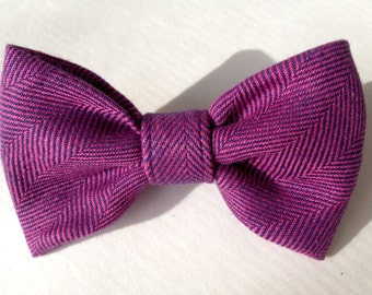 Small Pet Collar Bow, Pink/Blue Girl Dog Collar Bow, HerringBone Pet Collar Bow, Pink/Blue Cat Collar Bow, HerringBone Cat Collar Bow,