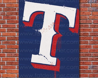 Texas Rangers Graffiti- Art Print - Perfect for Mancave