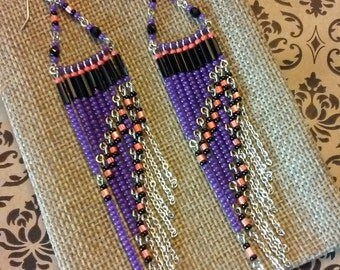 Boho Earrings, Purple Beaded Earrings, Chandelier Earrings, Long Earrings, Colorful Earrings, Bohemian Jewelry, Dangle Earrings, Beaded Hoop
