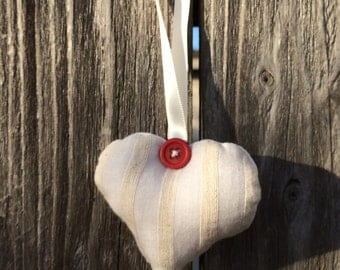 Sewn heart with hanging loop