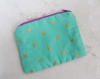 Mint Green & Gold Cross Patterned Mini Zippered Coin Pouch