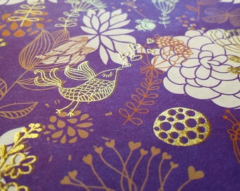 Purple Garden - Wrapping Paper/Gold Embossed/Sheet Style/Cute/Pretty/Unique/Kawaii/Holiday/Fancy/Wedding/Gift Wrap/Fun/Elegant/Occasion