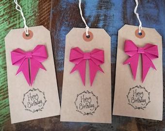 Birthday Gift Tags, Fushia Pink Origami Bows, Pack of Three