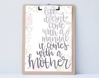 New mom Hand lettered home art,motivational office print, typography family gift, mother sister holiday present,bedroom home decor quote
