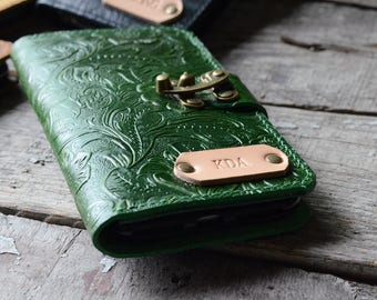 Genuine   leather Wallet iPhone 7 Plus Case IPHONE 7  se 5s leather Case Wallet, iPhone 7 Wallet, case iphone 6s / 6 plus leather case green