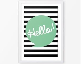 Hello Poster,printable children's wall art,instant download,kids wall art,mint,stripes,nursery decor,nursery printable,kids poster,kids room