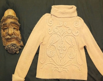 Camel vintage embroidered roll neck jumper - Size L