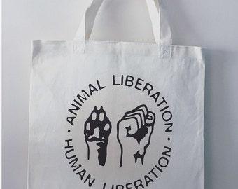Animal Liberation Human Liberation Canvas Grocery Resuable Tote Bag