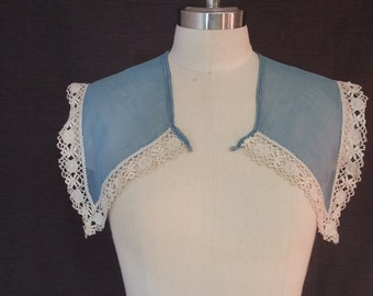 Vintage 1930s Collar and Cuff Set, Sheer Blue with Lace