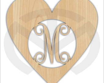 Unfinished Wood Heart Monogram Door Hanger Laser Cutout w/ Your Initial, Home Decor, Various Sizes, Script, Valentine's Day