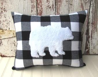 bear pillow buffalo check white fur black white