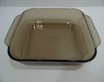 Pyrex Square Pan Baking Dish 222-R Amber Brown 8x8x2 Ovenware Bakeware Casserole