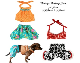 Vintage Bathing Suit PDF Sewing Pattern, Swimming Suit, Dog Clothes Sewing Pattern pdf Tutorial -ALL SIZES- xxsmall to xxlarge
