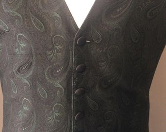 Paisley Backless Tuxedo Vest, one size