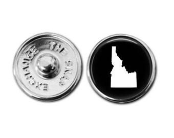 Idaho charm, Idaho jewelry, Idaho map charm, snap button jewelry, button snap jewelry, button jewelry, snap charm jewelry