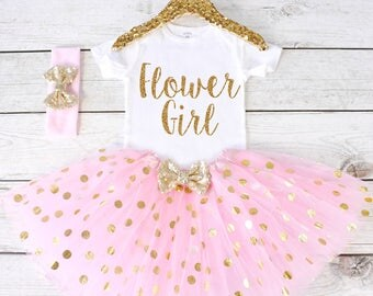 Flower Girl. CUSTOM font. Flower Girl Shirt. Flower Girl Outfit. Flower Girl Tutu Outfit. Flower Girl. Rehearsal Dinner. S31 FWG (LIGHTP)