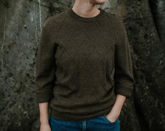 XS Pure Merino Wool Argyle Crew Neck Jumper Sweater