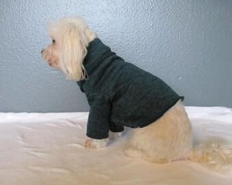 Green Knit Sweater Turtleneck Long Sleeve Shirt Dog Puppy Teacup Pet Clothes XXXS - Large