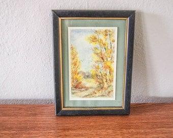 Vintage Autumn Watercolor Landscape Painting